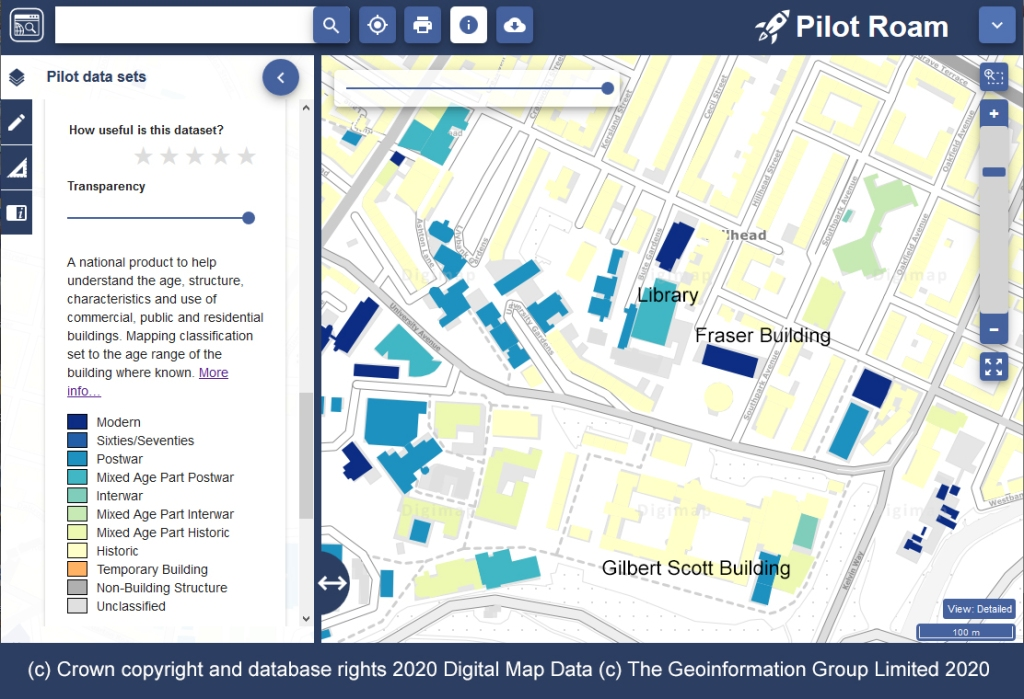 This screenshot shows the University campus with each building coloured according to it's age. Labels have been added to highlight the library, Fraser Building, and Gilbert Scott Building. There is a key to the left showing what time period the colours represent.
