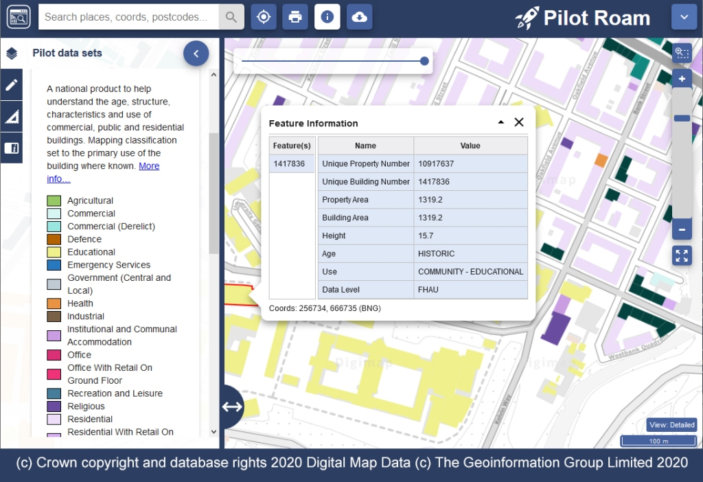 This screenshot shows Pilot Roam with a campus building clicked on. An information panel shows the Property Area, Building Area, and Height amongst other information. The buildings are coloured in different colours, and a key to the left shows a range of different building uses.