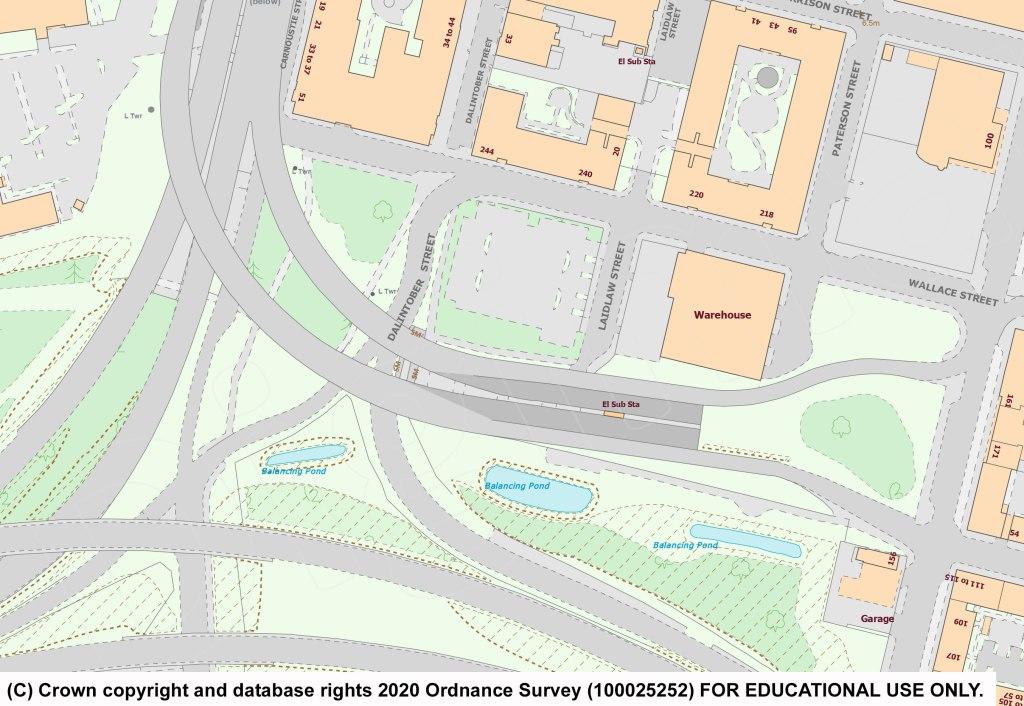Digimap漫游地图显示东南出口匝道和两条向东的车道突然停止。