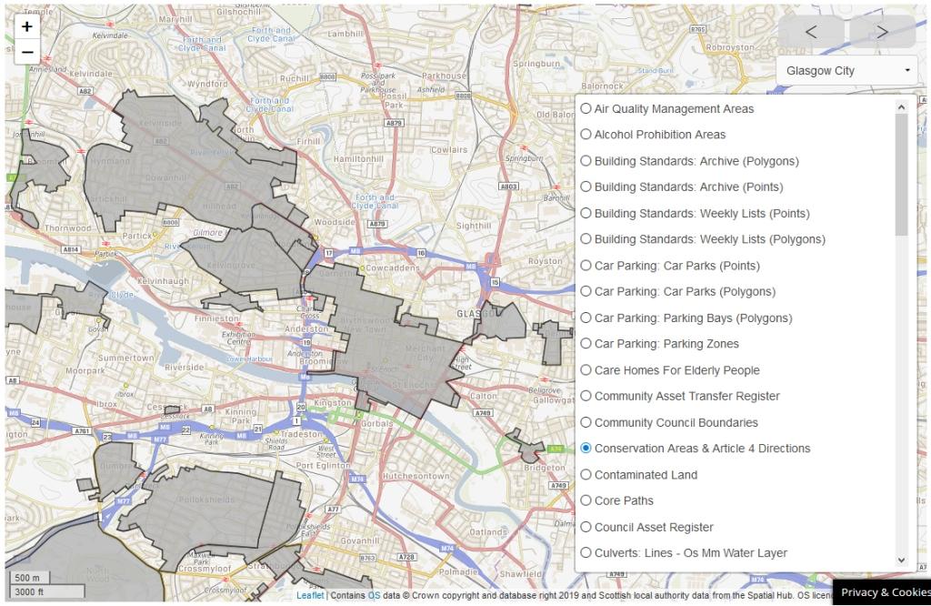 改善苏格兰的屏幕截图显示格拉斯哥西部的保护区和第四条方向。