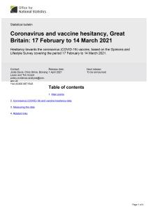 Front cover: Coronavirus and vaccine hesitancy, Great Britain