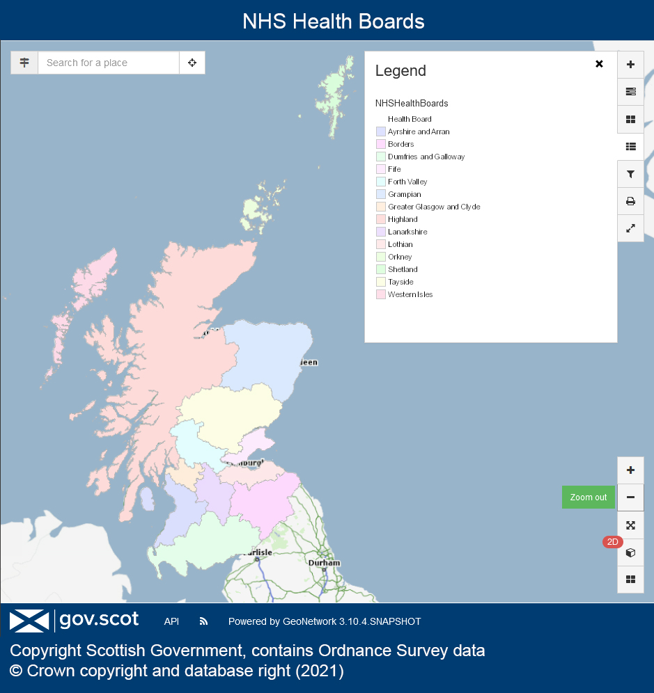 Scottish Government map showing the NHS Health Boards