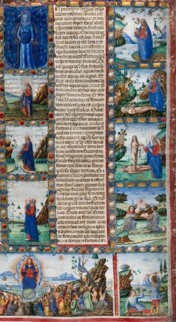 代表创世纪的故事的对叶片的说明性计划是包含该隐和亚伯的故事。